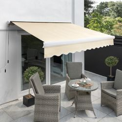 6m Full Cassette Electric Awning, Ivory Polyester